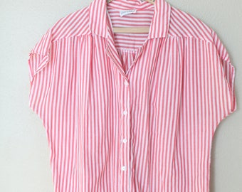 Vintage red & white stripe nautical button up pocket top