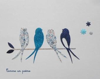 Applied fusible swallows, birds lucky liberty eloise blue