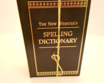 Three Volume Set, New Webster's Spelling Dictionary, Thesaurus, and Dictionary, beautiful in black with gold lettering and gold page ends