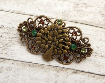 Small hairclip with tree ornament plait holder natural hair jewelry embellished gift idea woman