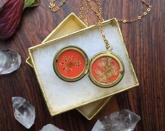 orange flower locket // botanical brass necklace // real pressed plant // sister gift // spring colors