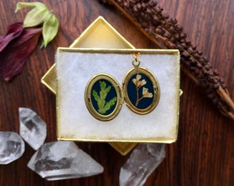 floral brass locket // lilac and cedar // real pressed plants // made in vermont