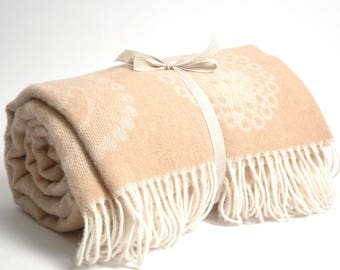 Pure Merino Wool blanket with fringes Sand beige with Cute Sheeps Wool blanket Pure wool throws Wool throw 55''X81''/140X205cm Perfect gift