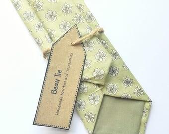 Floral tie, sage green skinny tie, green floral tie, mens skinny tie, wedding tie, men's floral tie