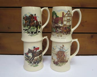 VINTAGE SADLER TANKARDS, Hunting Scene mugs, Steins set, Vintage collectible, Nautical scene, Serving cups, England, Father's day gifts