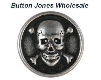 50 pcs. Skull & Bones 3/4 inch ( 20 mm ) Metal Buttons Antique Silver Color