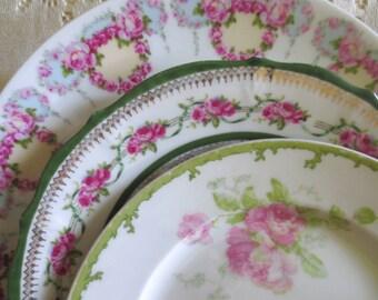 Set of 3 Mismatched Plate Set. Antique Vintage Plates. Floral Shabby Chic Home Decor. Farmhouse Cottage Tea Party Supplies. Plate Collage