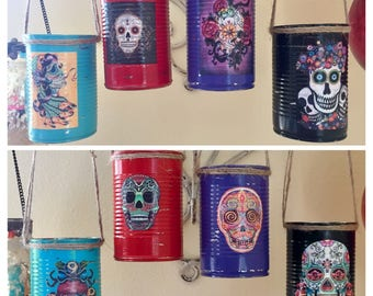4 Day of the Dead Día de los Muerto Decorations Cans Vase Centerpiece Wedding Party Home Decor Sugar Skull Halloween Gothic Goth Mexican Art