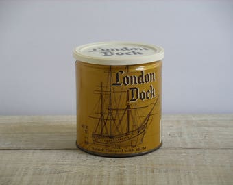 Vintage London Dock Tobacco Tin With Lid ~ Smoke Smoking Tobacciana Barware ~ Ocean Ship Nautical ~ Covered Metal Storage Container