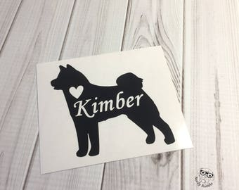 Akita Decal, Akita Dog Decal, Dog Laptop Decal, Pet Decal, Akita Car Decal, I love my, Akita, Customized Pet - You choose size and color.