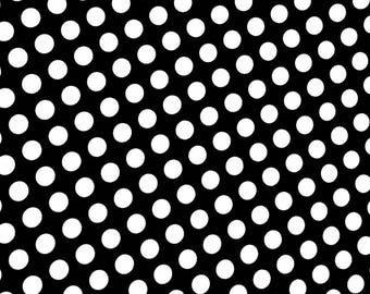 Black & White Polka Dot Print Retro Pinup Spandex Fabric Fashion Beauty 50's Cutesy Classic Old-Fashioned Classic Sexy Spot (By the Yard)