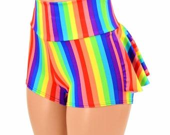 High Waist Ruffle Rump Bright Vertical Rainbow Stripe Print Spandex Booty Shorts - 154939