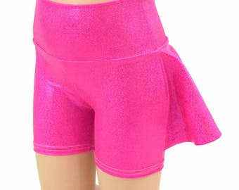 Kids Ruffle Rump Dance Shorts in Pink Sparkly Jewel Holographic Spandex  2T 3T 4T and 5-12 - 154957