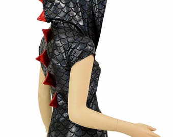 Black Dragon Scale Cap Sleeve Hoodie Romper with Red Holographic Spikes & Hood Lining  Rave Festival Onsie Costume   151520