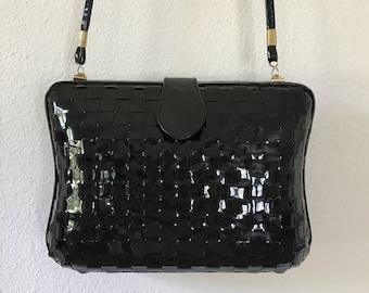 La Regale Black Patent Leather Case Clutch Cross body 1990s VTG
