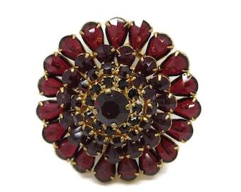 Red Austrian Crystal Brooch, Vintage Crystal Flower Pin, Goldtone Austria Pin