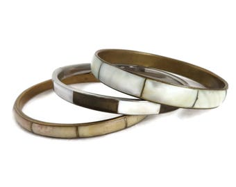Vintage MOP Bangle Trio, Mother of Pearl Bracelets, White, Brown Cream Inlay, Bracelet Trio