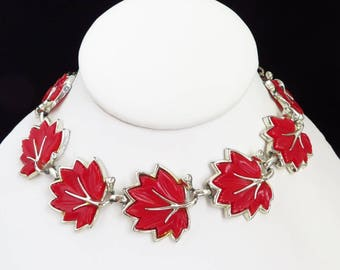 Red  Leaf Necklace | Vintage Thermoset Necklace | Mid Century Silver Tone Link Choker