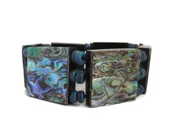 Vintage Abalone Bracelet | Beaded Panel Bracelet | Shell Inlay Bangle