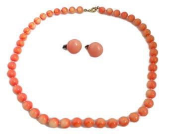 Vintage Coral Necklace, Earrings Set - Mid Century Orange Beaded Demi Parure