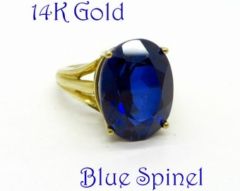 Blue Spinel Solitaire Ring - Vintage Blue Spinel Ring, 10K Gold Synthetic Spinel Ring, Sapphire Blue Statement Ring, Engagement Ring, Size 4