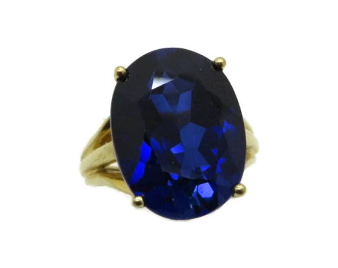 Blue Spinel Ring, 10K Gold Synthetic Spinel Ring, Sapphire Blue Statement Ring, Engagement Ring, Size 4, FREE SHIPPING