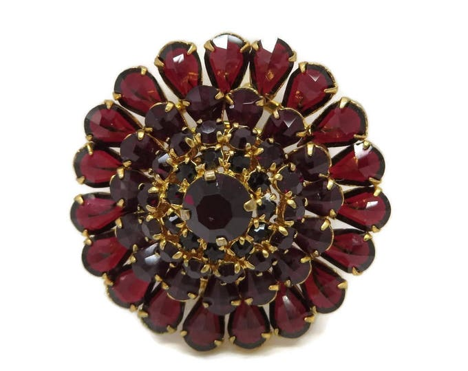 Red Austrian Crystal Brooch, Vintage Crystal Flower Pin, Goldtone Austria Pin