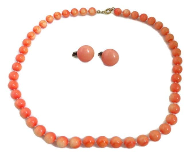 Coral Bead Necklace, Earrings, Vintage Mid Century Orange Beaded Demi Parure