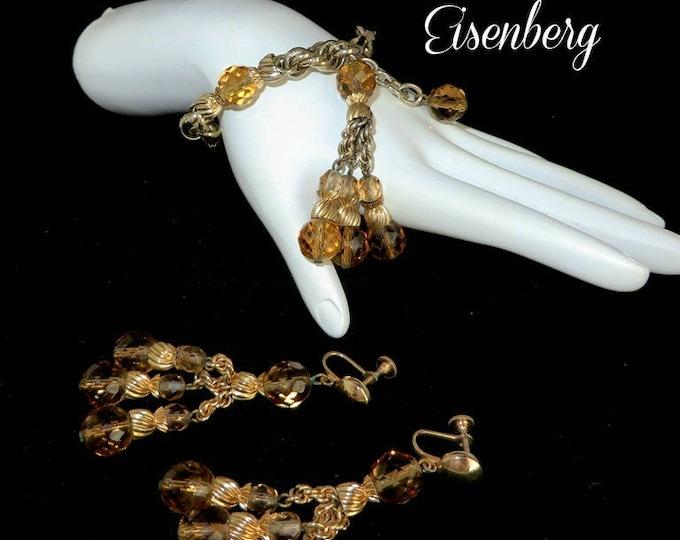Eisenberg Bracelet Earrings Set, Vintage Demi Parure, Amber Glass Elegant Gift, Gift Box