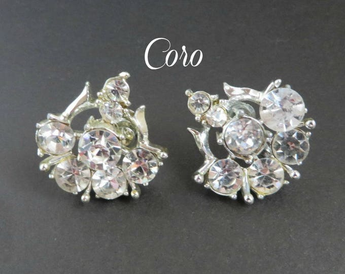 Coro Bridal Earrings, Rhinestone Silver Tone Screw Back, Formal Wear, Vintage Signed Coro Jewelry, Gift for Her, FREE SHIPPING