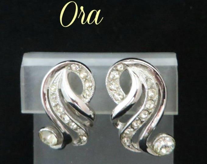 ORA Rhinestone Curved Earrings, Vintage Silver Tone Designed Signed Clip-on Earrings, Bridal Earrings