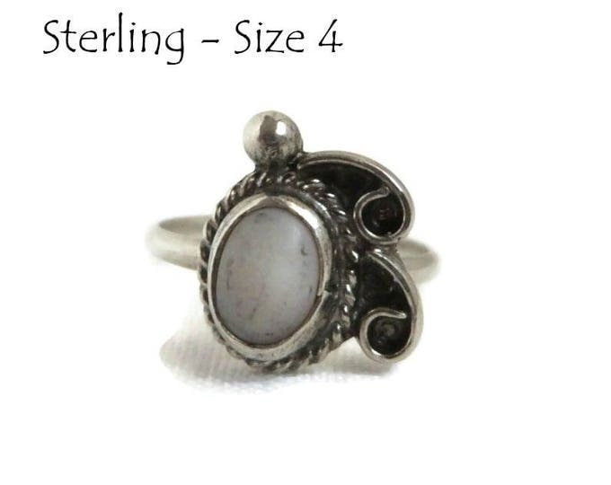 Sterling Silver Navajo Ring - Vintage White Quartz Ring - Native American Jewelry Gift Idea Size 4
