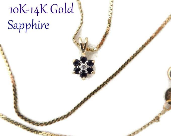 10K Gold Sapphire Diamond Pendant   14K Gold Cobra Chain Necklace