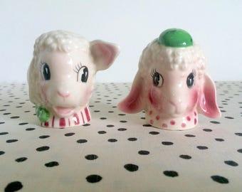 Vintage Anthropomorphic Sheep Shakers, Lamb Shakers, 1950s Anthropomorphic Shakers, Made in Japan Kitsch, Kitschy Shakers, 1950s Shakers