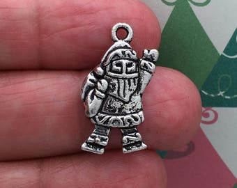 12 Silver Santa Claus Charm Christmas Pendant 23x14mm by TIJC SP0197