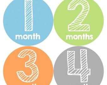 Baby Month Stickers, Baby Boy Gift, Milestone Stickers, Monthly Sticker, Monthly Baby Boy Stickers, Baby Month Milestone Stickers 108