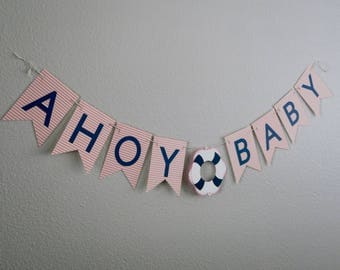 Ahoy Baby Shower Banner (Pink/Navy), Nautical Theme, Nautical Baby Shower, Nautical Banner