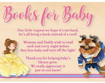 Beauty And The Beast Baby Shower Books For Baby Card   Beauty And The Beast  Books