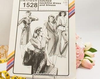 Notched Neckline Dress - Pattern 1528 - Vintage Sewing Pattern - Vintage Stretch & Sew Pattern - 1980 Pattern - Ann Person