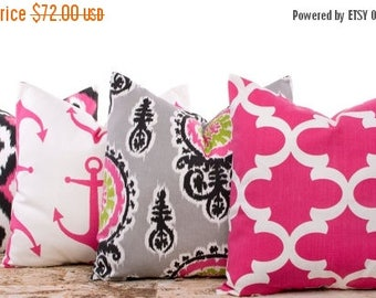 """SALE ENDS SOON Bright Pink Pillows, Candy Pink, Lattice Pillows, Nautical, Anchors, Bed Pillows, Pink Throw Pillows, Four 18 x 18"""""""