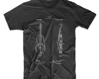 Violin Patent T Shirt, Stringed Instruments, Violin Shirt, Violinist, Orchestra, Symphony, Musician Gift, PP0853