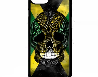 Jamaican flag skull cross of jamaica pattern print illustration art cover for Samsung Galaxy S5 S6 s7 s8 plus edge note 4 5 phone case