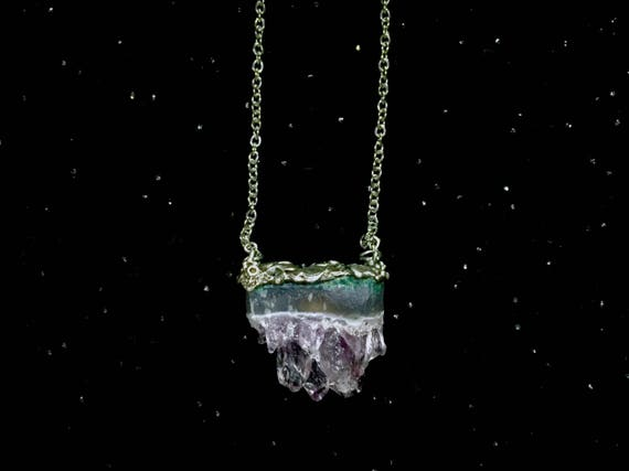 Purple Amethyst Crystal Slab Gemstone Necklace Organic Texture Solid Sterling 925 Silver Pendant on Adjustable Stainless Steel Chain
