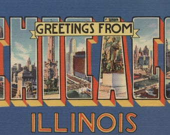 Greetings from Chicago, Illinois (Blue/White) - Vintage Halftone (Art Print - Multiple Sizes Available)
