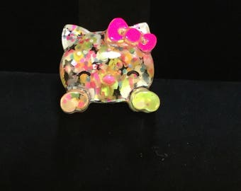 Resin Crafted Kitty Ring with Adjustable Band