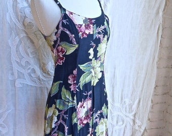 SUMMER SALE Blue Floral Grunge Mini Dress