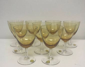 Vintage Champagne Tall Sherbet Glasses In The Hyde Park Brown Pattern By Theresienthal Germany Set Of Nine