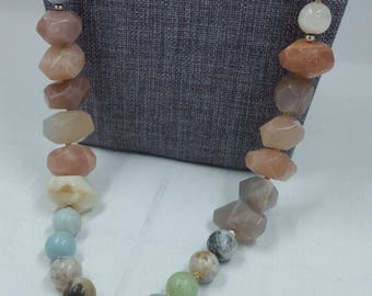 Faceted Moonstone, Amazonite, & Leather Necklace