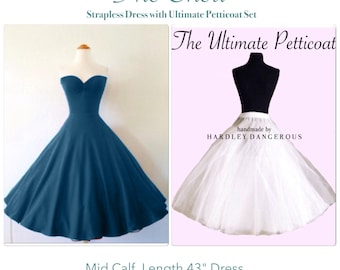 """Mid Calf Length 45"""" Strapless TEAL Stretch Knit Swing Dress with Ultimate Petticoat Set"""