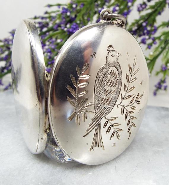 Antique Victorian Sterling Silver Aesthetic Parakeet Parrot Bird Locket Necklace